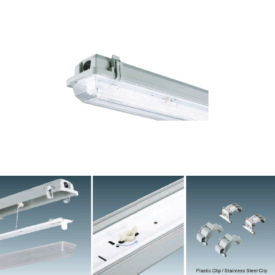 Wall Mounted T8 Fixture : Enclosed & Gasketed Vapour Proof Single T8 Fixture - 4ft Platinum Imports Inc. Barbados