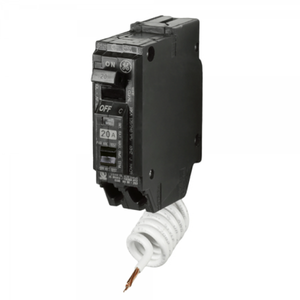 Use 1 General Electric  Breakers 15 amp THQP single pole