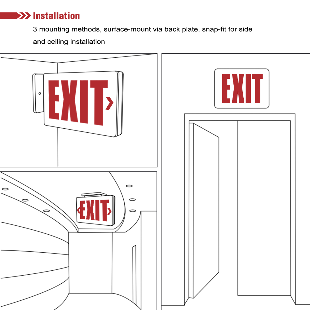 Compact LED Double Face Exit Sign - Red | Platinum Imports